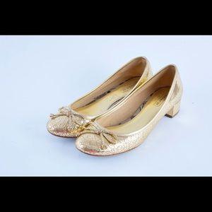Coach odella cracked gold block heels